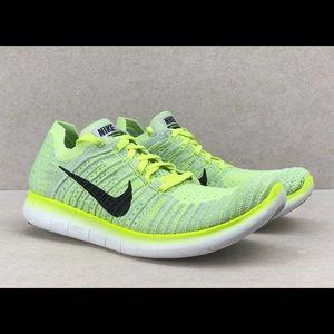 Nike Free RN Flyknit Running Run Shoes Green Volt